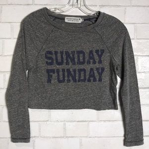 Project Social Sunday Funday Crop T shirt XS grey